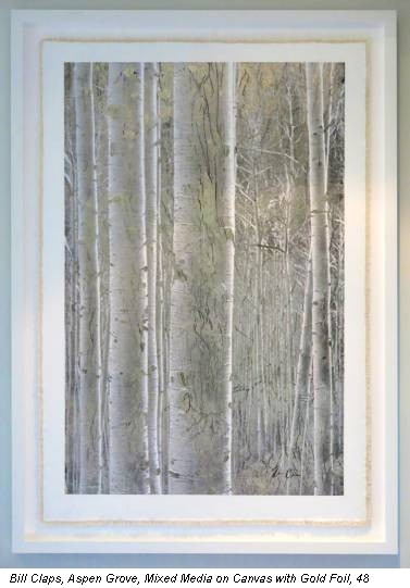 Bill Claps, Aspen Grove, Mixed Media on Canvas with Gold Foil, 48